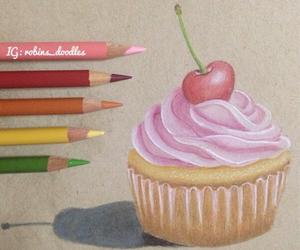 art, cherry, and cupcake image