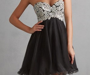 black, cocktail dress, and strapless image