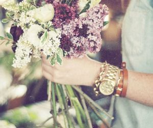 flowers, watch, and bracelet image