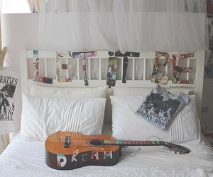 guitar, room, and bed image