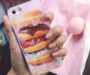 iphone, donuts, and food image