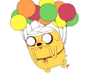 adventure time, JAKe, and balloons image