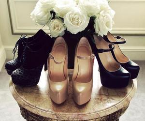 heels, roses, and white image