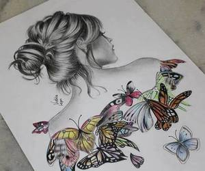 butterfly, girl, and drawing image