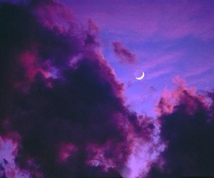 clouds, moon, and purple image
