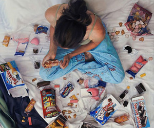 food, bed, and chocolate image
