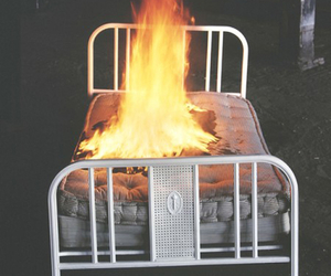 bed, fire, and photography image