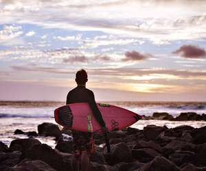 boy, morning, and surf image