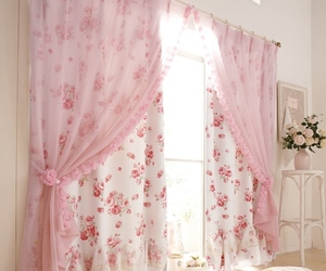pink, room, and curtains image