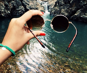 sunglasses, nature, and waterfall image