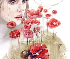 disegni, girl, and poppies image