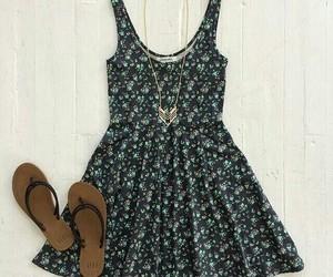 dress, flip flops, and love it image