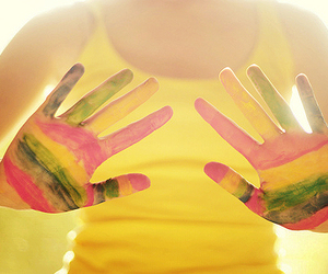 hands, rainbow, and yellow image
