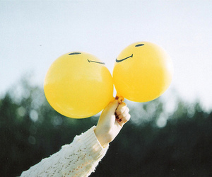 vintage, balloons, and yellow image