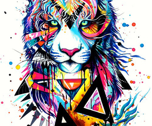 art, tiger, and colorful image