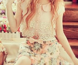 lace, outfit, and pink image