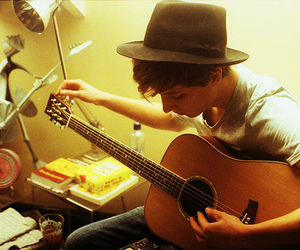 boy, guitar, and hat image