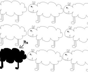 black and white, me, and sheep image