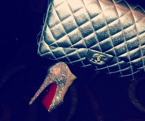 heels, chanel, and glitter image