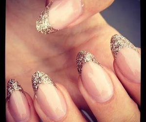 nails, shiny, and french manicure image