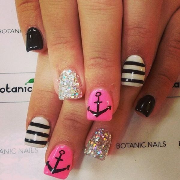 28 images about Nail art on We Heart It | See more about nail art,. Pink  Black And White ... - Pink Black And White Nail Designs Graham Reid