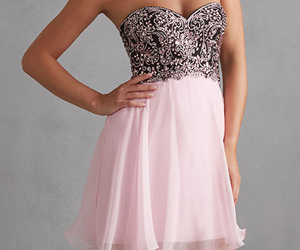 strapless, black and pink, and chiffon image