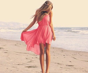 dress, beach, and girl image