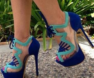 blue, high heels, and fashion image