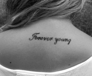 black and white, Forever Young, and girl image