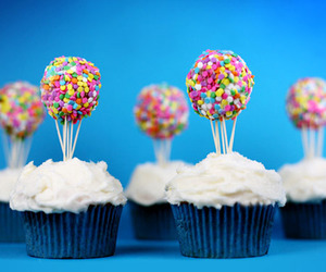 cupcake, food, and balloons image
