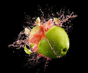 apple, explosion, and color image