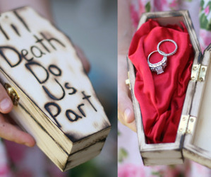rings, coffin, and marriage image