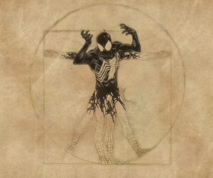 spiderman, venom suit, and da vinci style image