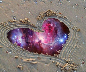 heart, beach, and galaxy image