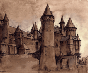 castle, harry potter, and drawing image