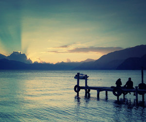 couple, dock, and pier image