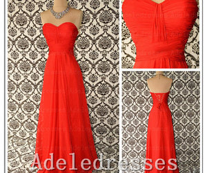 bridesmaid dresses, orange prom dress, and sweetheart prom dress image