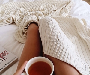 tea, bed, and book image