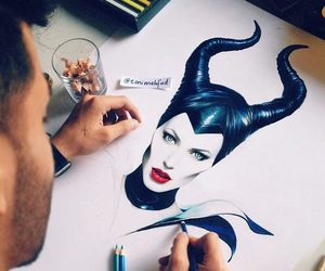 maleficent, art, and drawing image