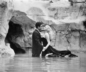 la dolce vita, anita ekberg, and couple image