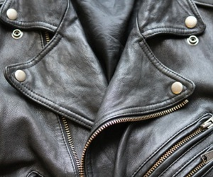 black, leather jacket, and jacket image