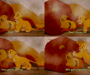 sad, simba, and disney image