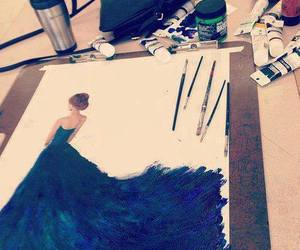 dress, art, and blue image