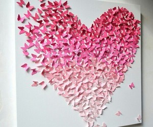heart, pink, and butterfly image