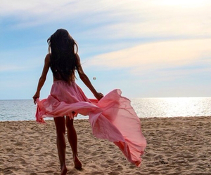 beach, girl, and dress image