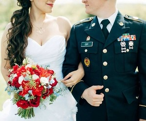 bride, military, and love image