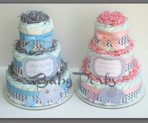 baby shower, diaper cake, and cute image