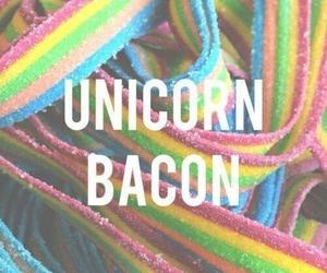 unicorn, bacon, and rainbow image
