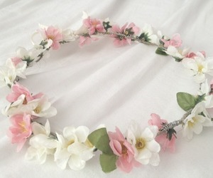 flowers, pink, and crown image