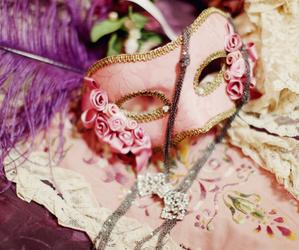 pink, mask, and masquerade image